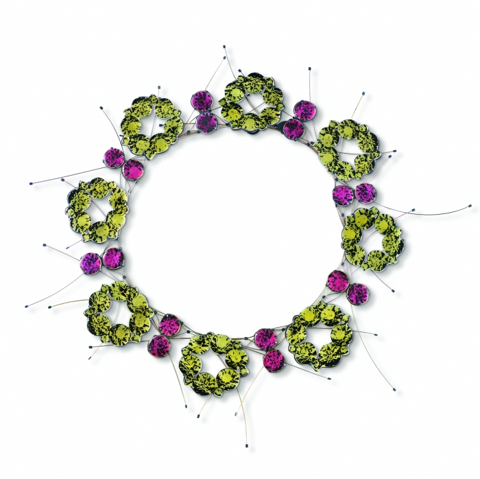 Grean Wreath Necklace from the Rhinestones jewelry series by artist Kathleen Browne